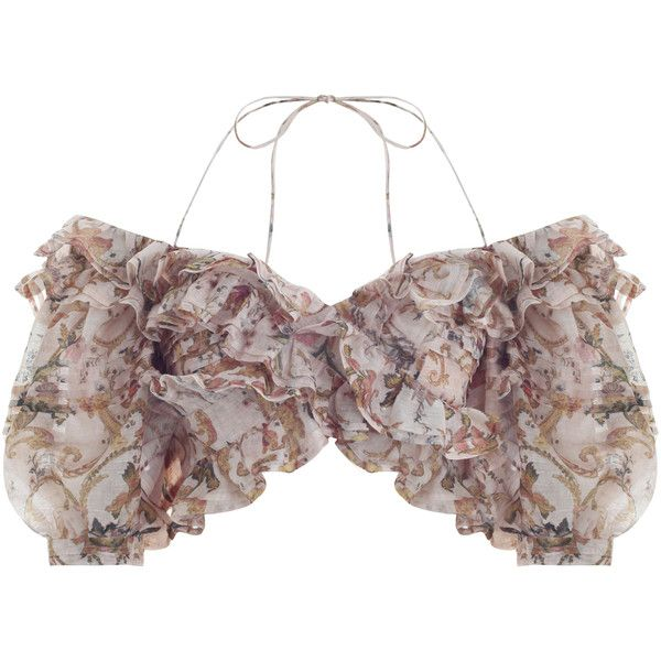 Zimmermann Painted Heart Folds Bodice ($695) ❤ liked on Polyvore featuring tops, heart crop top, halter crop tops, cropped tops, tie halter top and halter neck tops