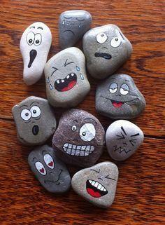 handgemalte Felsen malten Steine auf