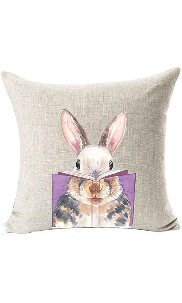Nordic Simple Ink Painting Watercolor Animal Adorable Bunny Rabbit Reading Books Spring Easter Gifts Cotton Linen Throw Pillow Case Cushion Cover NEW Home Office Decorative Square 18 X 18 Inches Best Price