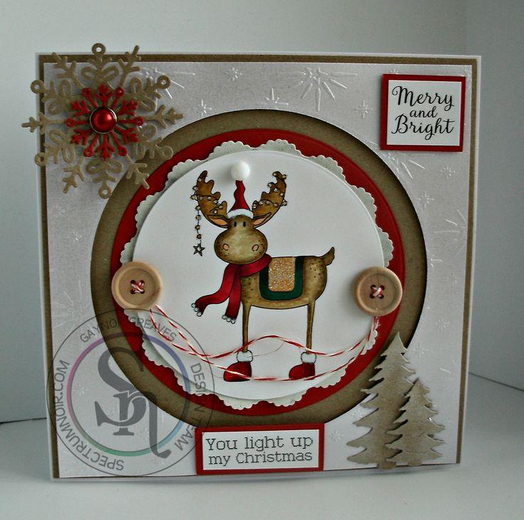 Gaynor Greaves - Nordic Christmas - Christmas Cheer stamp - Neenah Solar White - Kraft card - Centura Pearl Hint Of Silver - Tree die - Snowflake die - Star of Wonder embossing folder - coloured with Spectrum Noir pens and pencils: Reindeer - EB2 - GB8 - DR3 - JG5 - 25 - 110 - 120 - #crafterscompanion #spectrumnoir #Christmas