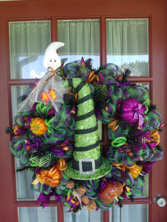 185 best Fall Deco Mesh Wreaths images on Pinterest | Halloween ...