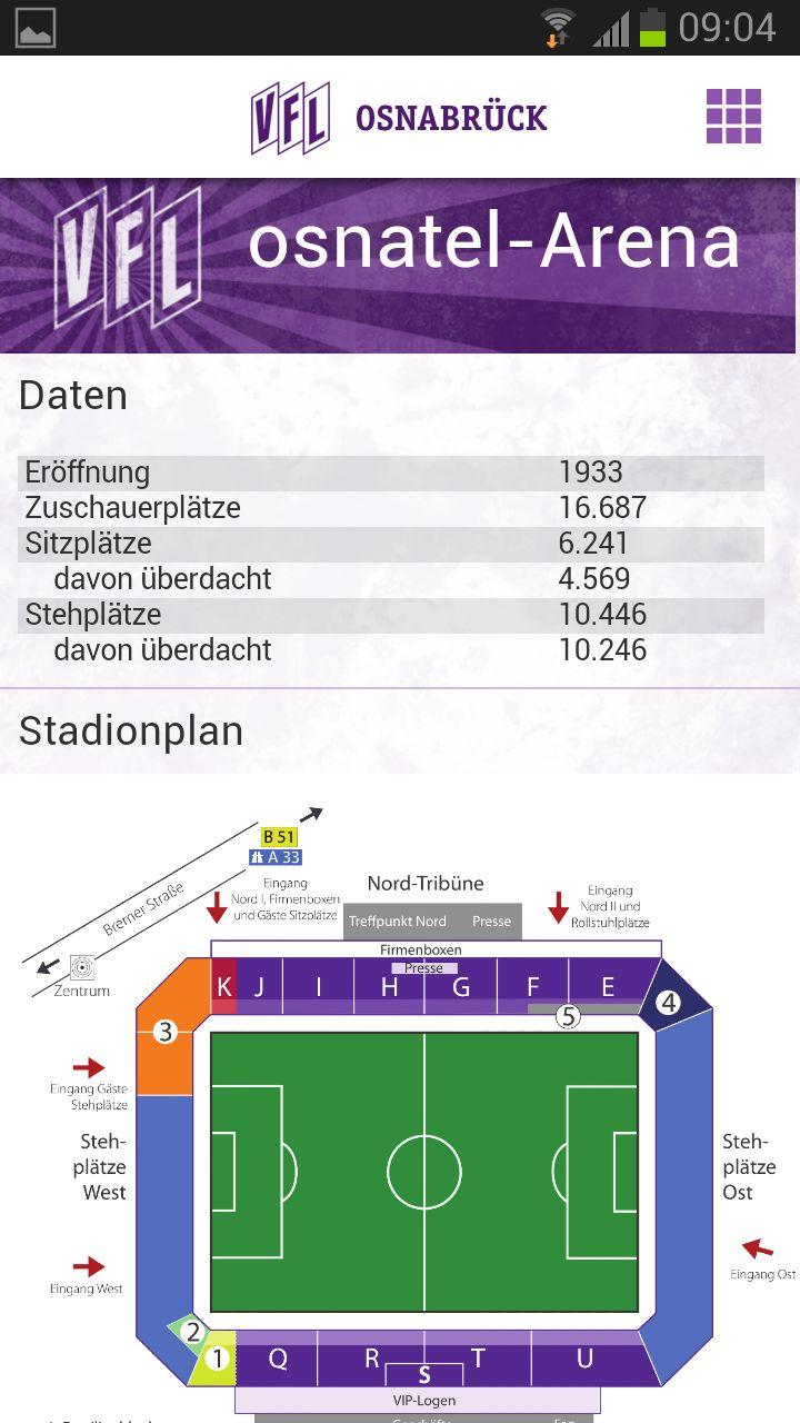 VfL Osnabrück App - Stadionplan