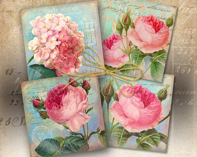 """Impresión Digital descargar SHABBY victoriano flores Collage hoja 3.8 """"x3.8"""" tamaño de imágenes para posavasos, tarjetas de felicitación, etiquetas de regalo de ArtCult"""