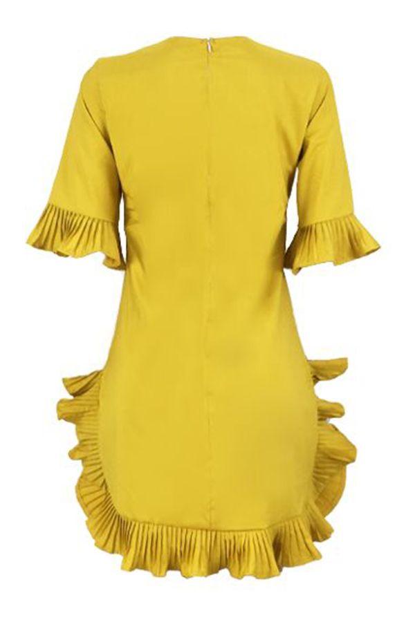 Schöne süße Rüschen Design gelb Blending Mini Dress_Dresses_LovelyWholesale | …   – My Posh Picks