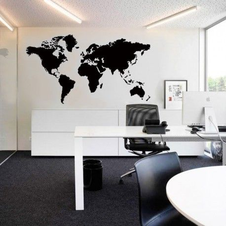 Stor svart världskarta, 90x200cm