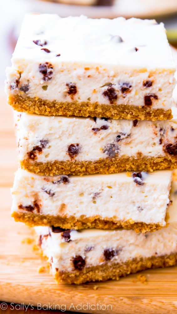 Chocolate Chip Cheesecake Bars for only 128 calories - no sacrificing taste or texture! These are easy.