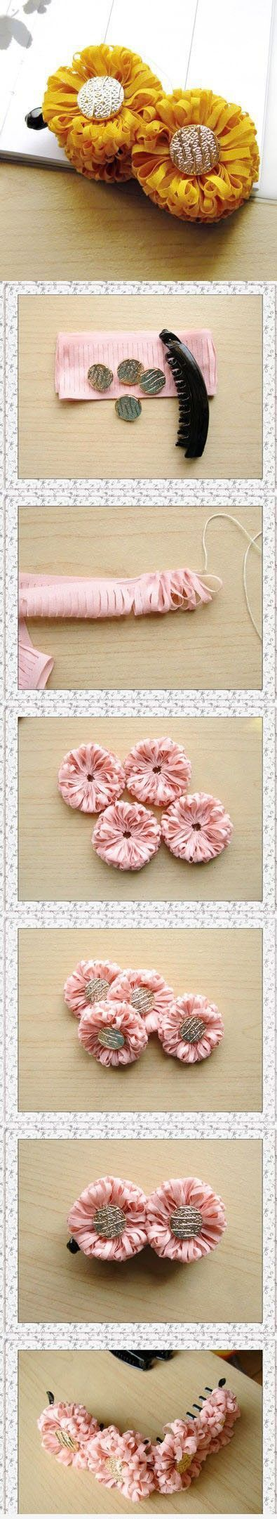DIY: Interesting Easy Craft Ideas. The fabric could be small flower print and the centers could be broaches, wine corks, buttons...