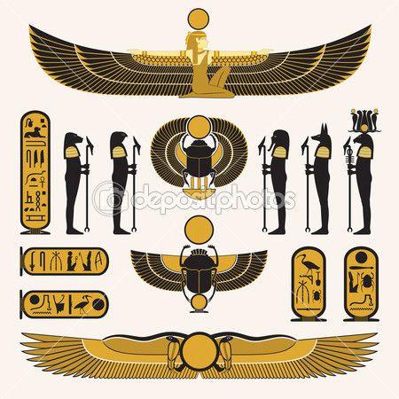 Gamla egyptiska symboler och dekorationer i gul svart design — Stockillustration #10719157