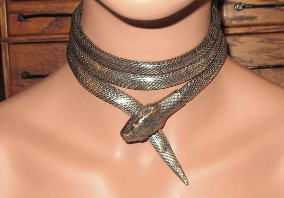 Fabulous 1920s Silver Mesh Metal Serpent Necklace, Antique Snake Necklace, Art Deco Dramatic Statement Snake Necklace, Art Nouveau Snake