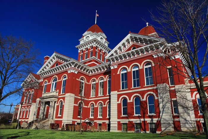 Old Lake County Courthouse in downtown Crown Point, Indiana. The Old Lake County Courthouse served as the government center for Lake County, Indiana from 1878 to 1974.