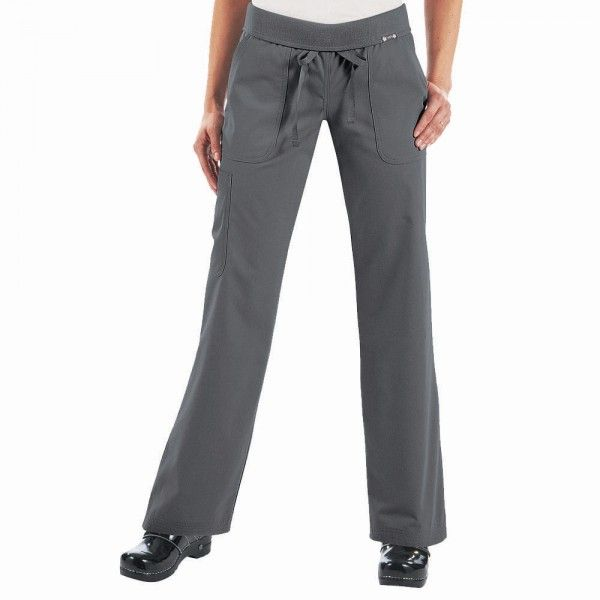 Koi Morgan Scrub Pants in steel. If you like your comfort, then these koi Morgan Scrub Pants are perfect. They are ultra soft and super comfy. They have a drawstring waist and a rib-trim waist band that can be worn rolled or unrolled for added comfort. When you wear the koi Morgan Scrub Trousers, it really does feel like you are wearing tracksuit bottoms but with total style. £27.50  #nursescrubs #dentistuniform #nurses #dentists #greyscrubs