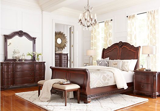 Cortinella Cherry 7 Pc King Sleigh Bedroom. $2,155.00.  Find affordable Bedroom Sets for your home that will complement the rest of your furniture.