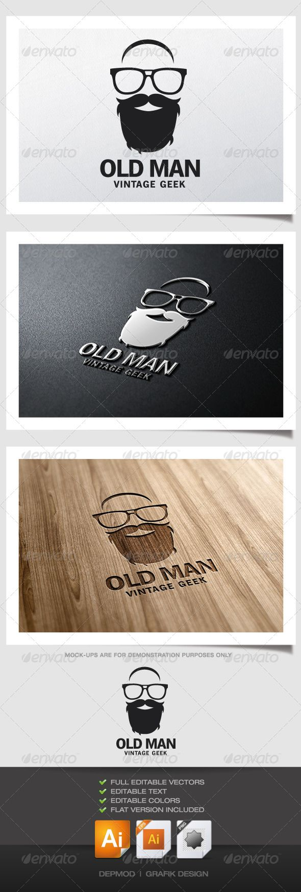 Old Man Logo #GraphicRiver Logo of a old beard man with geek glasses. Can be used for many kind of project. Full vectors, this logo can be easily resize and colors can be changed to fit your colors project. Print ready. The font used is in a download file in the package.