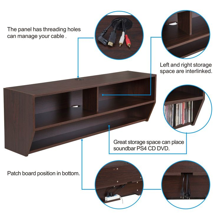 Wall Mount Media Center Shelf Floating Entertainment Console TV Stand Cabinet-DS212301WB