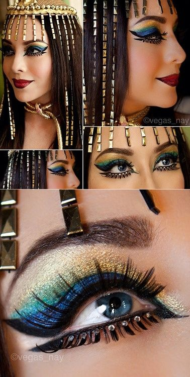 Vegas_Nay looks radiant as Cleopatra! She used Sugarpill Goldilux and Darling eyeshadows, topped off with Charlotte and Spark false eyelashes. http://instagram.com/p/fkwDSBRRFq/