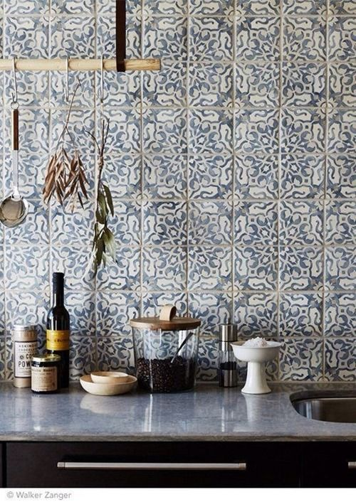 Intricate and delicate pattern on tiles for kitchen backsplash - walker zanger tiles made by Tabarka .