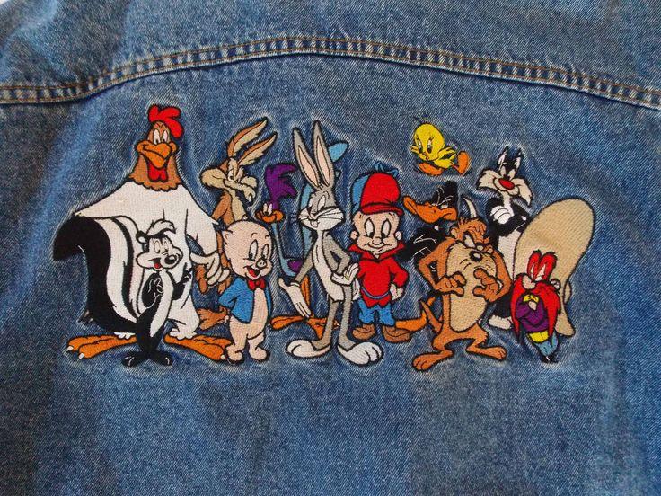 Medium Mens Looney Tunes Jean Jacket Denim Bugs Bunny Road Runner Elmer Fudd T1 #LooneyTunes #JeanJacket