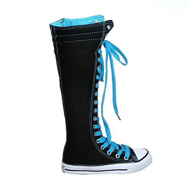Canvas Sneakers Ladies Flat Tall Punk Womens Skate Shoes Lace up Knee High Boots (6, black)