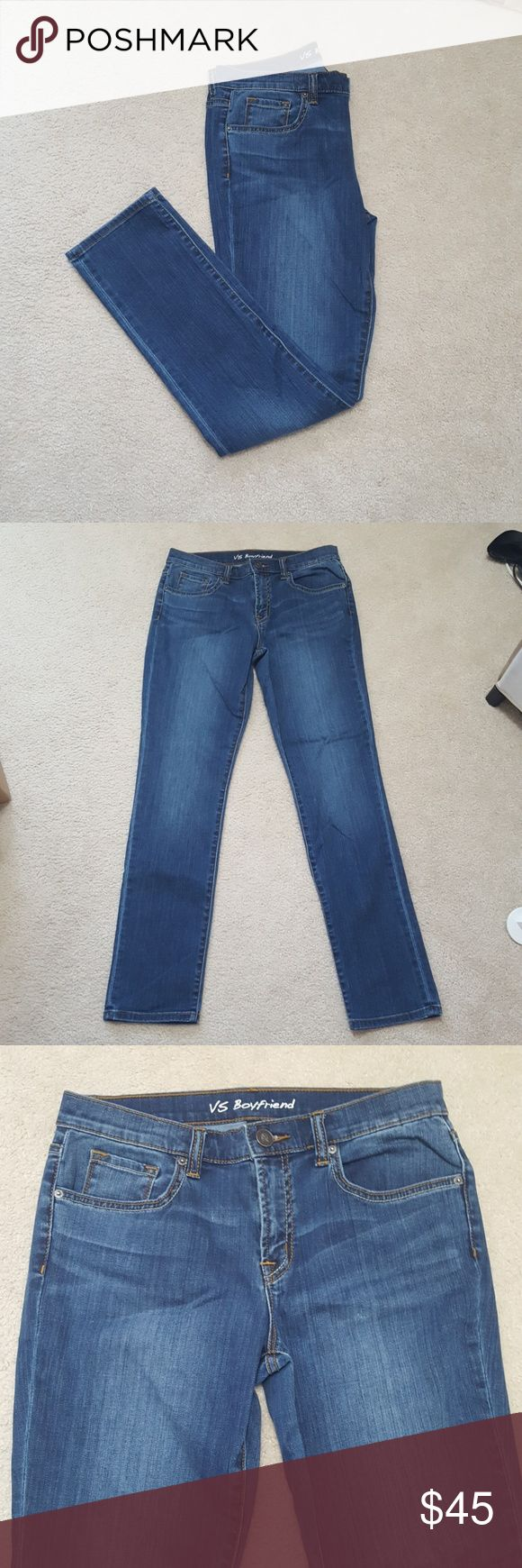 """New Victoria's Secret Boyfriend Skinny Jeans VS Price Reduced! VS Boyfriend jeans in a size 8. This are brand new and never worn but the tags were taken off. I purchased these from Victoria's Secret online catalog when they still made clothing. The inside tag reads """"VS Boyfriend"""" and on the inside pocket lining is has the small VS logo on it. 98% Cotton and 2% Elastane.  Smoke free home and fast shipping. I do offer bundles deals as well. Thank you for checking out my closet. Victoria's…"""