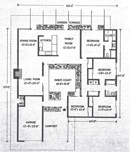 Atrium Model Eichler Floor Plan Like The Layout And Lot Dimensions. Find  This Pin And More On Mid Century Modern House Plans ...