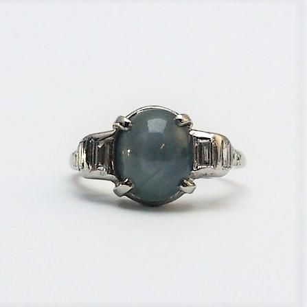 Star Sapphire And Diamond White Gold Ring