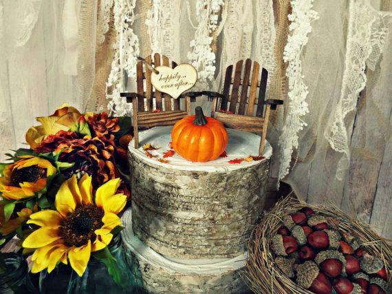 Adirondack chair fall pumpkin wedding cake topper fall
