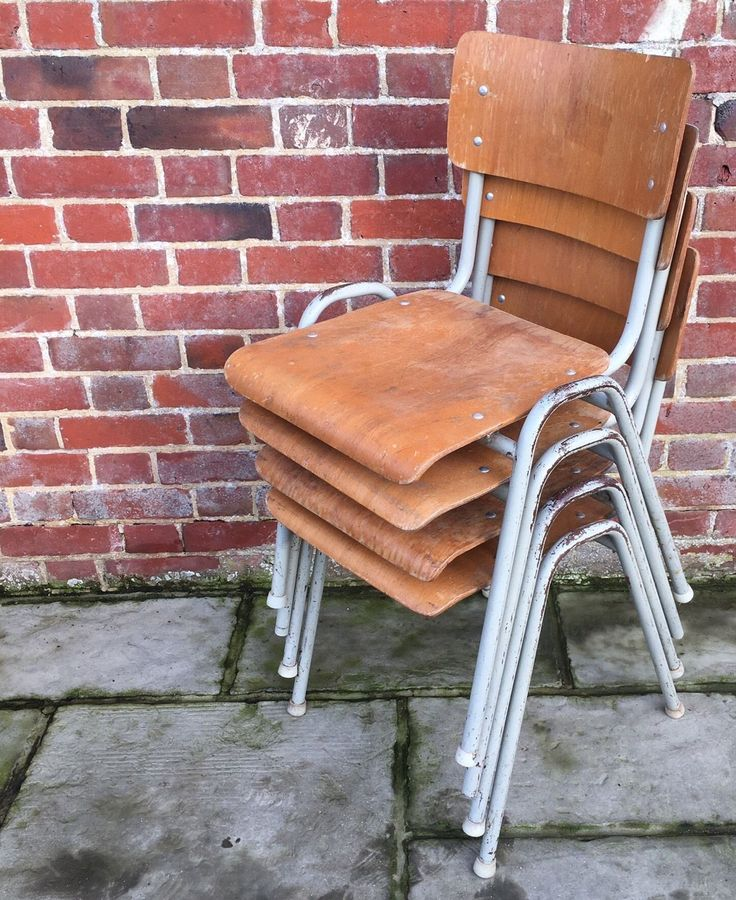Remember these? Industrial Vintage Stacking School Chairs Wooden Tubular Metal 1950s