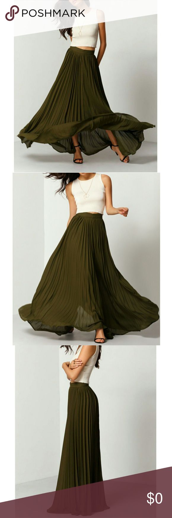 4TH OF JULY SALE ARRIVAL OLIVE PLEATED MAXI SKIRT.  -FABRIC/SIZING/ SEE LAST IMAGE! -ACCEPTING REASONABLE OFFERS AND BUNDLE DISCOUNTS AVAILABLE! Skirts Maxi