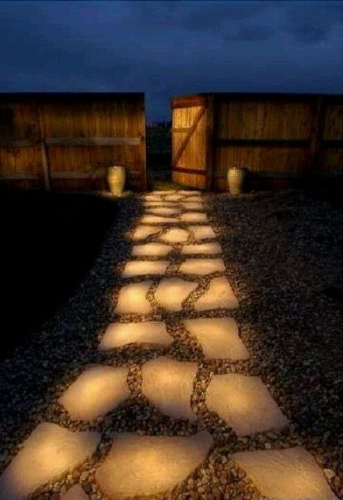 DIY - What A Cool Way To Light Sidewalks! _ Take glow in dark paint and paint your sidewalk. _ Or spray paint little stones and place in the cracks of your sidewalk.