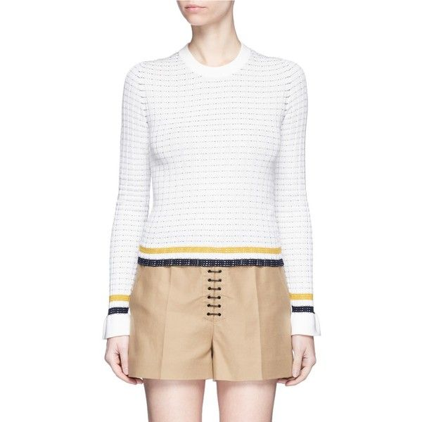 3.1 Phillip Lim Stripe hem smocked pima cotton sweater ($350) ❤ liked on Polyvore featuring tops, sweaters, white, graphic design sweaters, stretch top, stripe top, smocked top and striped knitwear