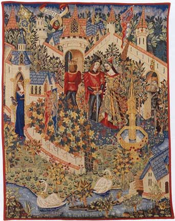 Arthur at Camelot Having drawn the sword from the stone, Arthur, watched by Guinevere and Merlin, establishes his right to the throne. Carrying the sword, the newly-crowned King enters into his many-towered castle at Camelot, Cornwall.
