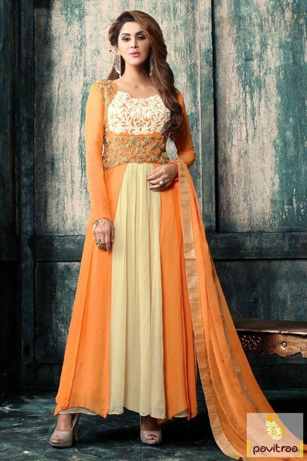 Brings whole new traditional look by wearing this orange color a line designer party wear anarkali salwar kameez with discount rate. This fancy young girls wear anarkali made with high neck pattern. #salwarsuit, #designerdress more: http://www.pavitraa.in/store/anarkali-salwar-suit/