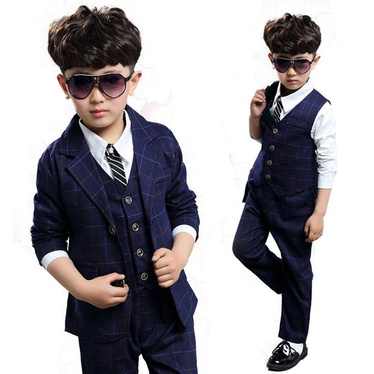 Toddler Boy Suits Formal For Wedding Big Boys Set Teenage Boutique Outfit Plaid Children Clothing Sets  Kids Clothes 3Pcs 4-12T