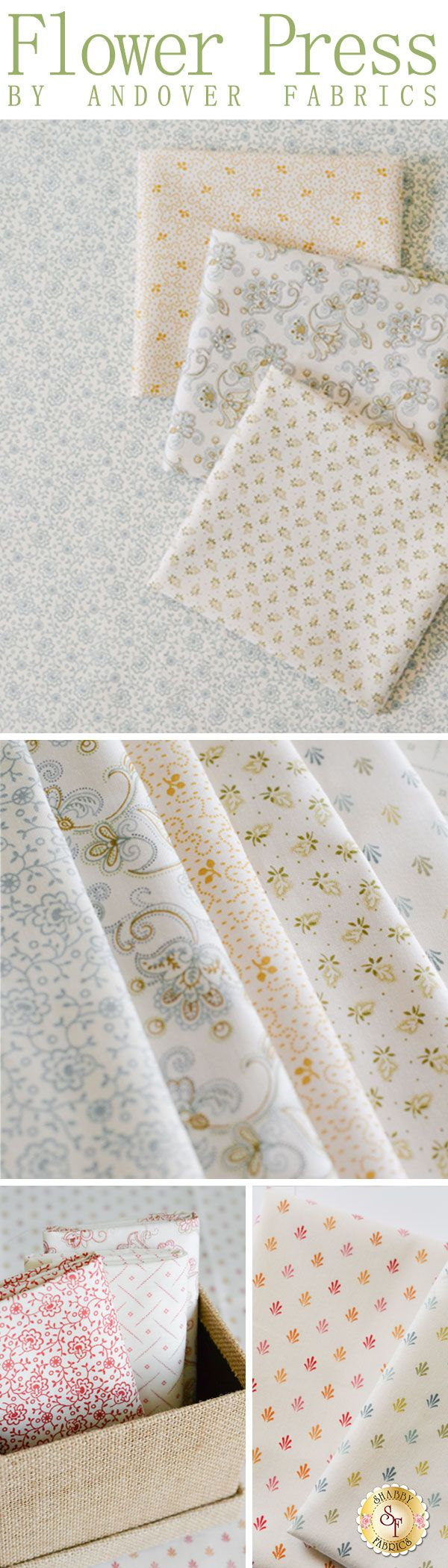 Flower Press is a pretty floral collection from Andover Fabrics by Renee Nanneman available at Shabby Fabrics