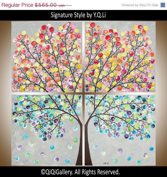 36 Large Square Art Acrylic Landscape Painting Impasto Tree Canvas Brighten You Day