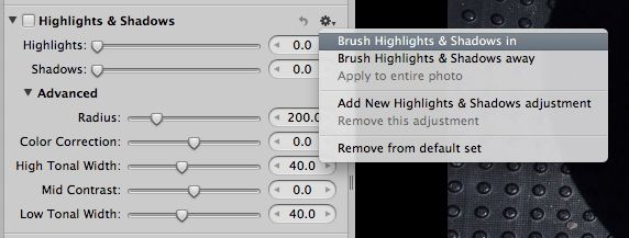 """Don't mess with the """"dodge and burn"""" tool in Aperture. The results are often terrible. Instead, use the brush with the Highlights & Shadows adjustment. Click on the image to learn how."""