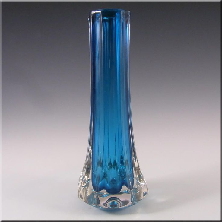 Whitefriars/Baxter Kingfisher Blue Glass Eight Sided Vase #9781 - £60.00