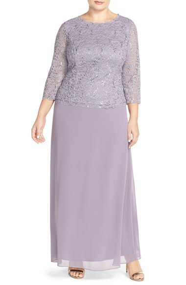 Alex Evenings Embellished Lace & Chiffon Gown (Plus Size) available at #Nordstrom