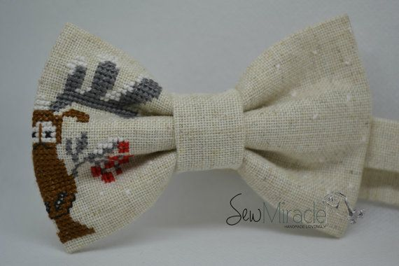 Christmas bow tie Cross stitch bow tieFunny reindeer by SewMiracle