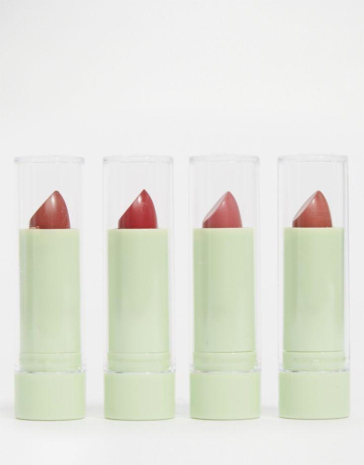Mattelustre Lippenstift-Quartett von Pixi halbmatter Lippenstift pflegt und schützt die Lippen pigmentierte, lang haltende Farbe angereichert mit Vitaminen C+E enthält Peptide und Hyaluronsäure für volle und geschmeidige Lippen