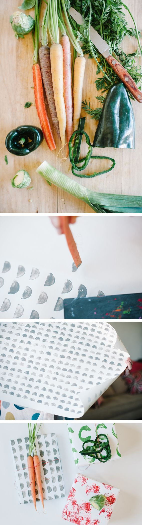 veggie print wrapping paper