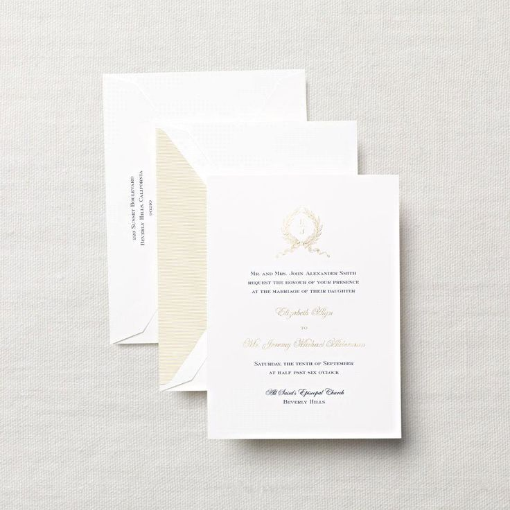 sample wedding invitation letter for uk visa%0A Crane Hand Engraved Officer u    s Club Ball Invitation  Our classic engraved  monogram wreath in elegant gold paired with navy blue ink on this pearl  white