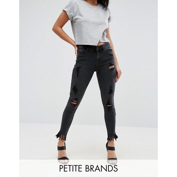 New Look Petite Busted Knee Fringe Skinny Jeans (56 AUD) ❤ liked on Polyvore featuring jeans, black, petite, super high rise skinny jeans, petite skinny jeans, destroyed skinny jeans, skinny jeans and dark wash ripped skinny jeans