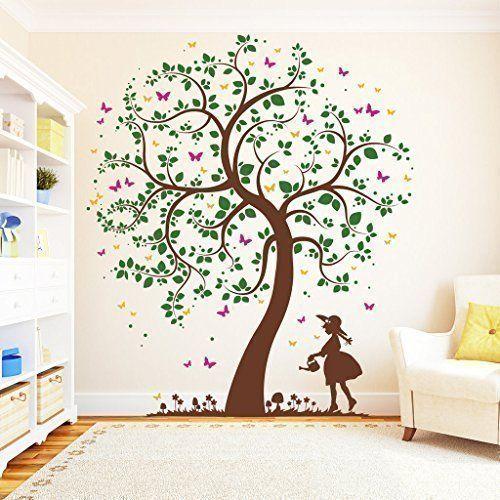 Lovely Wandtattoo Loft Baum M dchen mit Gie kanne farbig Wandtattoo Farben