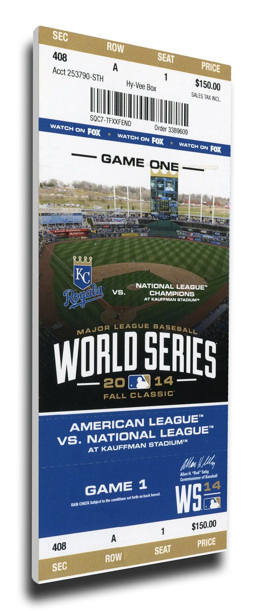 Capture the memory of the Royals first World Series appearance in 29 years with a 2014 World Series Game 1 Canvas Mega Ticket