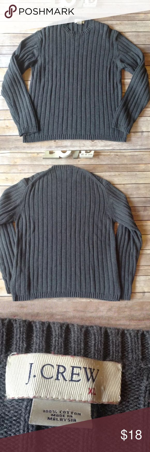 """J Crew men's gray ribbed sweater size XL Pre-owned J Crew men's gray ribbed sweater size XL. Very good used condition. No rips holes or stains. 100% cotton.   Measurements:  Armpit to armpit- 21 1/2""""  Armpit to sleeve- 19""""  Length- 27""""   I ship fast! Pay before 4:30pm Monday thru Friday and I will ship the same day!  Thank you for looking!  Check out my other items! J. Crew Sweaters Crewneck"""