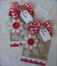 Christmas Snowflake Gift Tag Embellishments by PaperPrettyBoutique