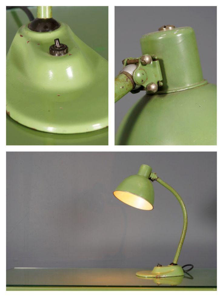Green metal desk lamp by Marianne Brandt, c.1930s.
