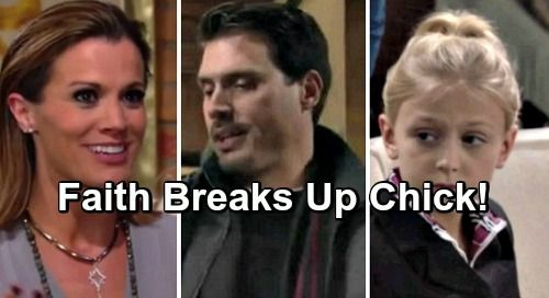 The Young and the Restless (Y&R) spoilers tease that Faith (Alyvia Alyn Lind) will worry about Nick (Joshua Morrow) and Chelsea's (Melissa Claire Egan)...