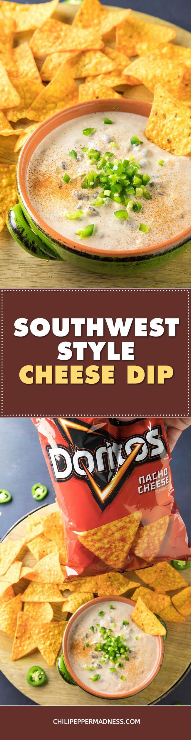 Southwest-Style Cheese Dip - The game day snack table just got better with this easy southwest-style cheese dip recipe that's just begging for DORITOS®️️ Nacho Cheese Flavored Tortilla Chips. #sponsored @fritolay